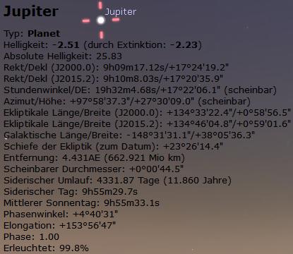Stellarium Informationen Himmelsobjekte