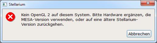 Stellarium Kein OpenGL 2 auf diesem System